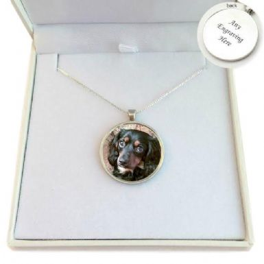 Pet Loss Round Photo Necklace, Sterling Silver Chain | Someone Remembered